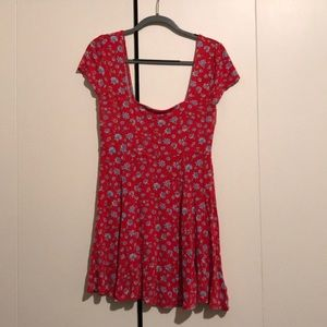Kimichi Blue Red flower box cut dress, Large